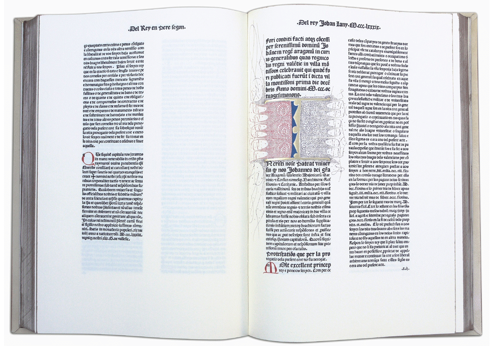 Furs Valencia-Palmart-Incunabula & Ancient Books-facsimile book-Vicent García Editores-1 Opened