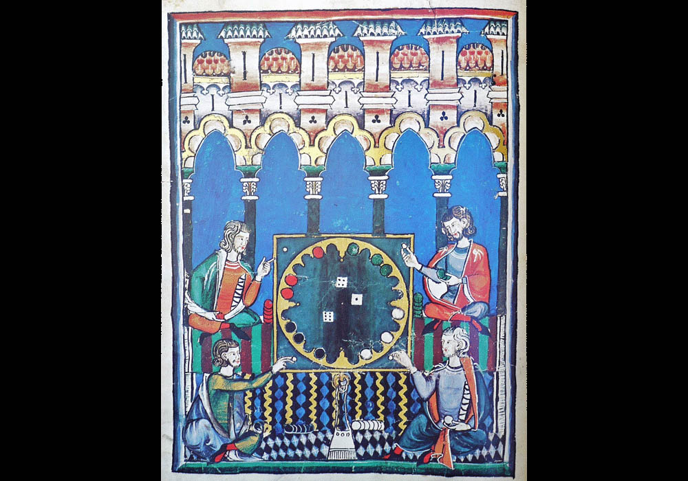 Libro Ajedrez Dados Tablas-Alfonso X Wise-Chest-Manuscript-Illuminated codex-facsimile book-Vicent García Editores-8 Dice Game.