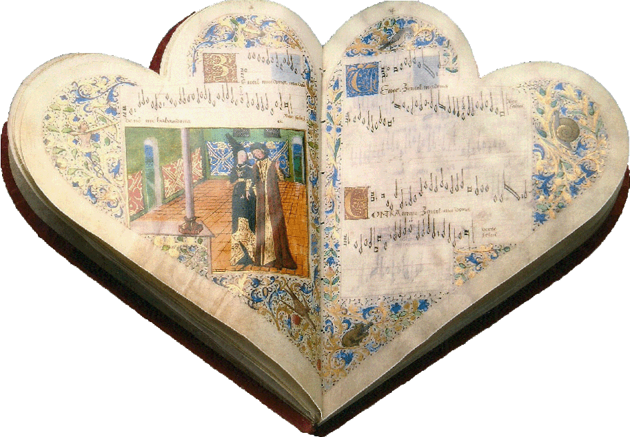 Chansonnier Jean Montchenu-Dufay-Ocheghem-Manuscript-Illuminated codex-facsimile book-Vicent Garc�a Editores-0 Opened