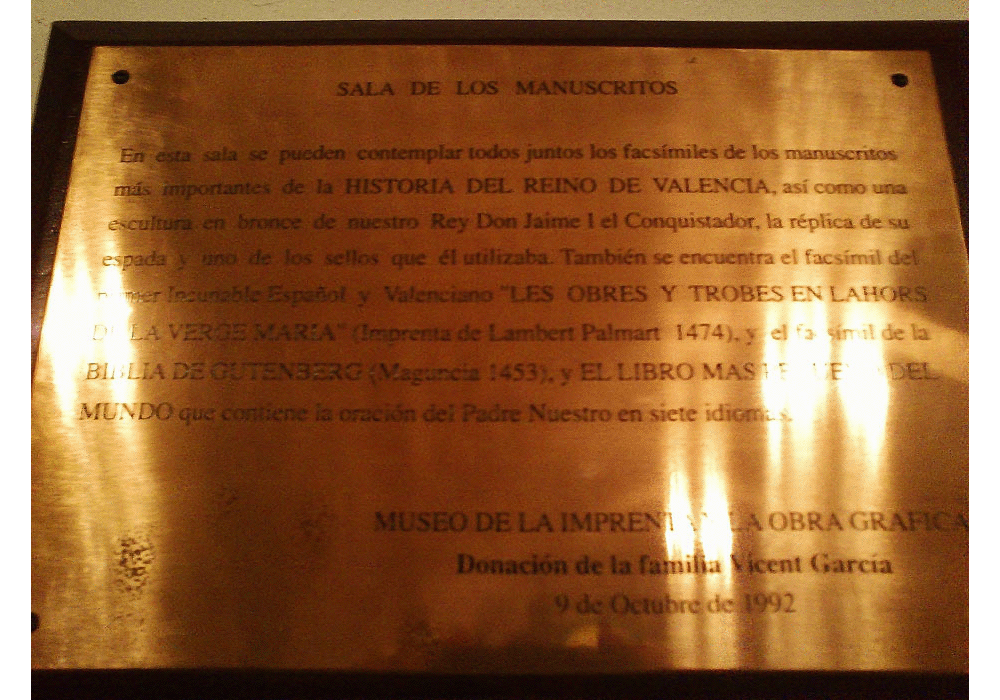 Hall of codices and illuminated manuscripts in Real Monasterio de El Puig. Donation plaque by Vicent García family