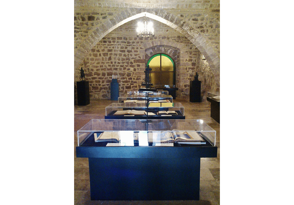 View of the Hall of codices and illuminated manuscripts at Real Monasterio de El Puig
