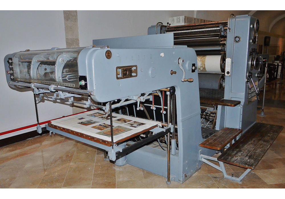 One colour Offset printing press Oris Olympic. Ca. 1944
