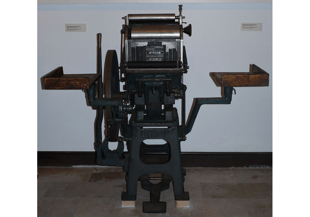 Typographic printing press Minerva. Ink roller. By Drimp