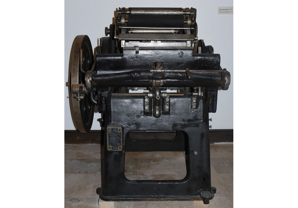 Typographic printing press Minerva. Ink roller. By Rota