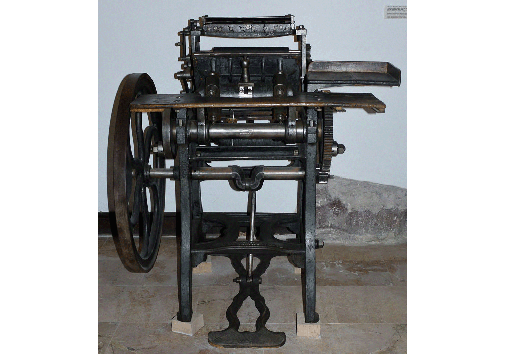 Typographic printing press Minerva Liberty. By Weiler. 1872